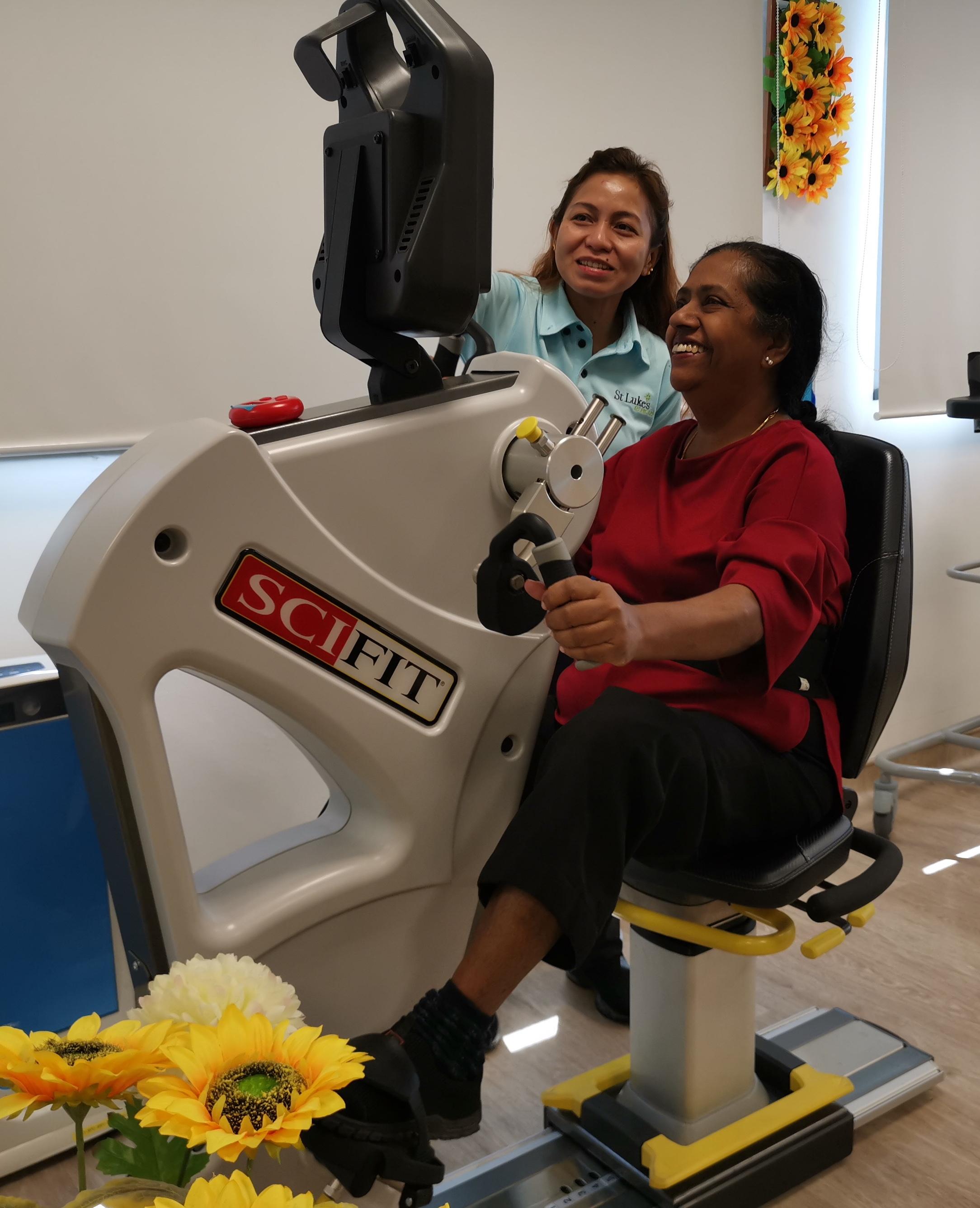 Cecilia doing rehab exercises at St Luke's ElderCare Ang Mo Kio Polyclinic Centre